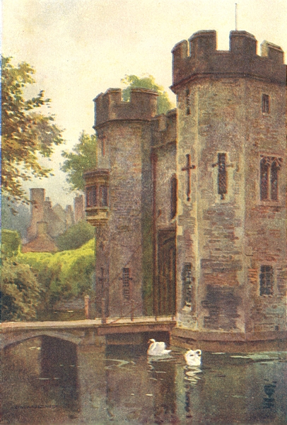 The Palace gatehouse and Drawbridge, Wells. Somerset. By Ernest Haslehust 1920