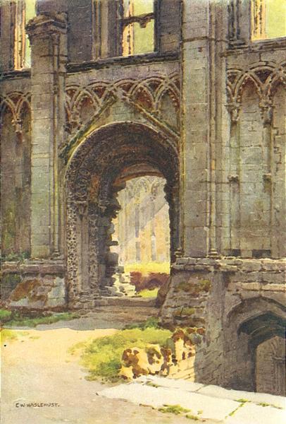 Associate Product Doorway of Chapel of St. Mary, Glastonbury Abbey. Ernest Haslehust 1920 print
