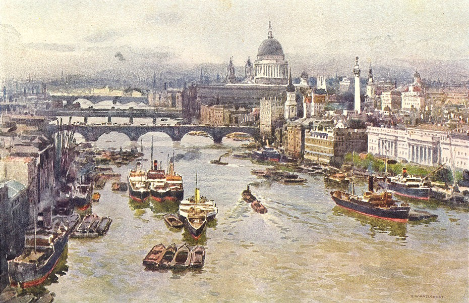 Associate Product The Heart of London from Tower Bridge. London. By Ernest Haslehust 1920 print