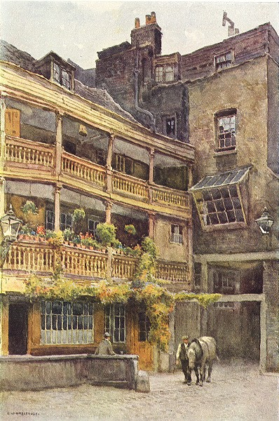 Associate Product Remains of the George Inn, Southwark . London. By Ernest Haslehust 1920 print