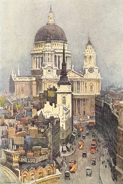 Associate Product St. Paul's and Ludgate Hill. London. By Ernest Haslehust 1920 old print
