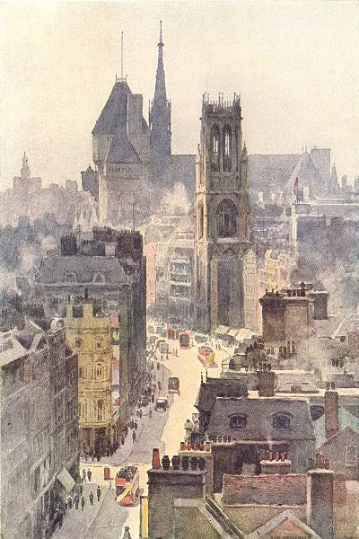 Associate Product Looking West up Fleet Street to the Law Courts. London.By Ernest Haslehust 1920