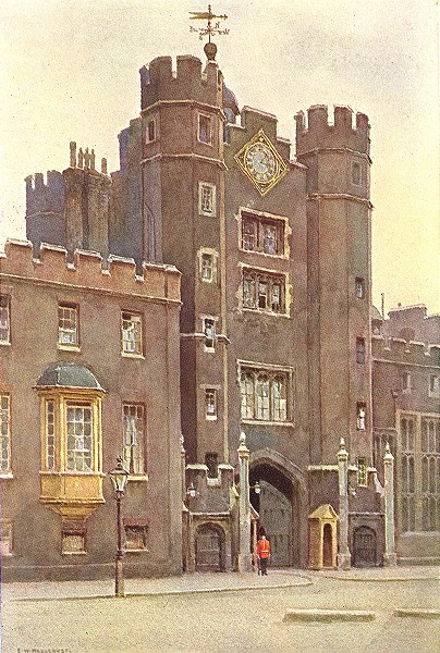 Associate Product Gatehouse, St. James's Palace. London. By Ernest Haslehust 1920 old print