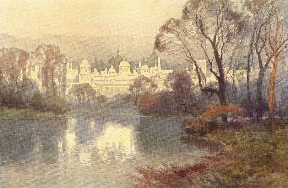 Associate Product Whitehall from St. James's Park. London. By Ernest Haslehust 1920 old print