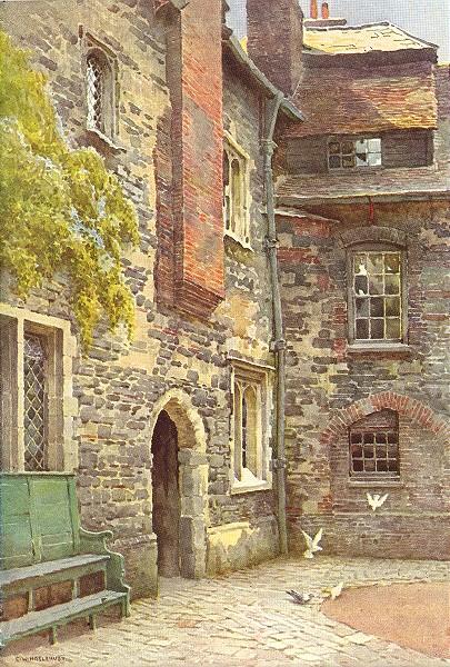 Associate Product Washhouse Court, Charterhouse. London. By Ernest Haslehust 1920 old print