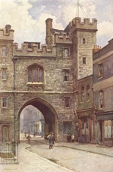 Associate Product St. John's gatehouse, Clerkenwell. London. By Ernest Haslehust 1920 old print