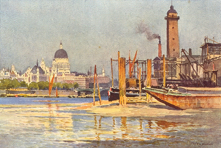 Associate Product The Thames from below Waterloo Bridge. London. By Ernest Haslehust 1920 print