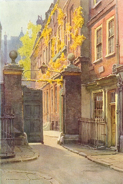 Associate Product Amen corner, Paternoster Row. London. By Ernest Haslehust 1920 old print