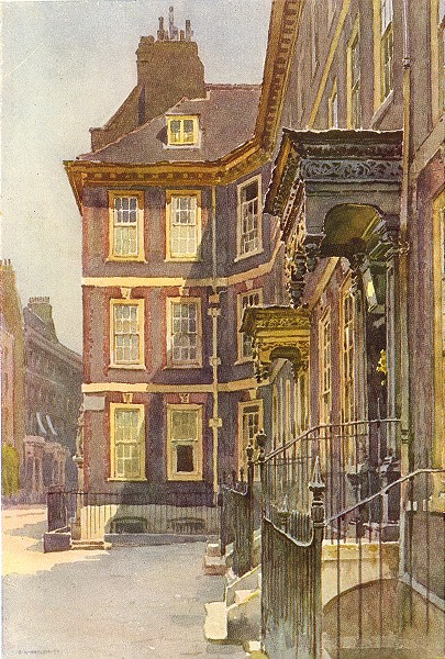 Associate Product Queen Anne's Gate, Westminster. London. By Ernest Haslehust 1920 old print