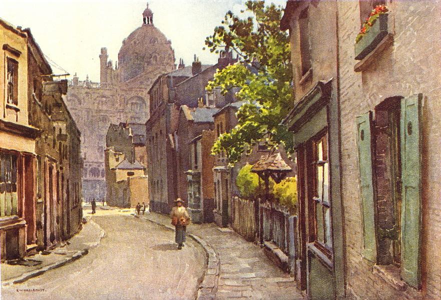 Associate Product Lancelot Place, Knightsbridge. London. By Ernest Haslehust 1920 old print