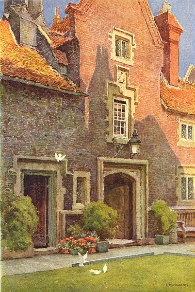 Whitgift Hospital, Croydon. London. By Ernest Haslehust 1920 old antique print