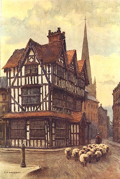 Associate Product The Black-and-white house, High Town. Hereford. By Ernest Haslehust 1920 print