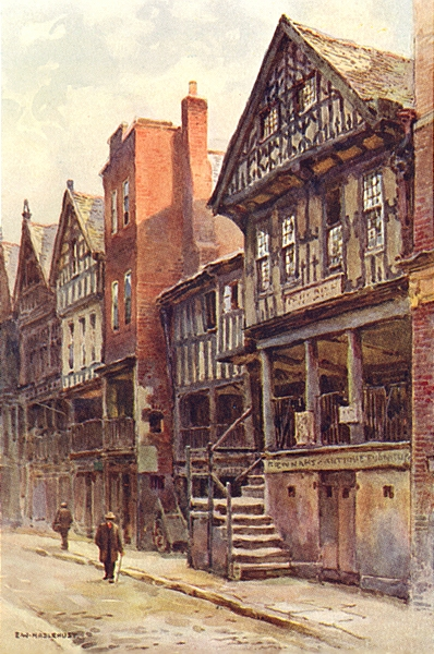 Associate Product Watergate Street, Chester. Cheshire. By Ernest Haslehust 1920 old print