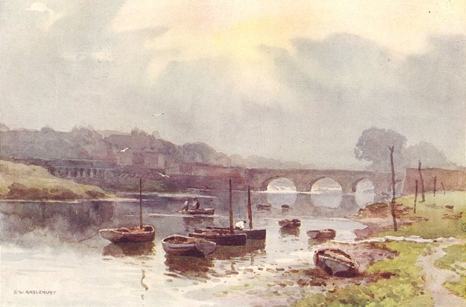 Associate Product Salmon fishers at Chester. Cheshire. By Ernest Haslehust 1920 old print