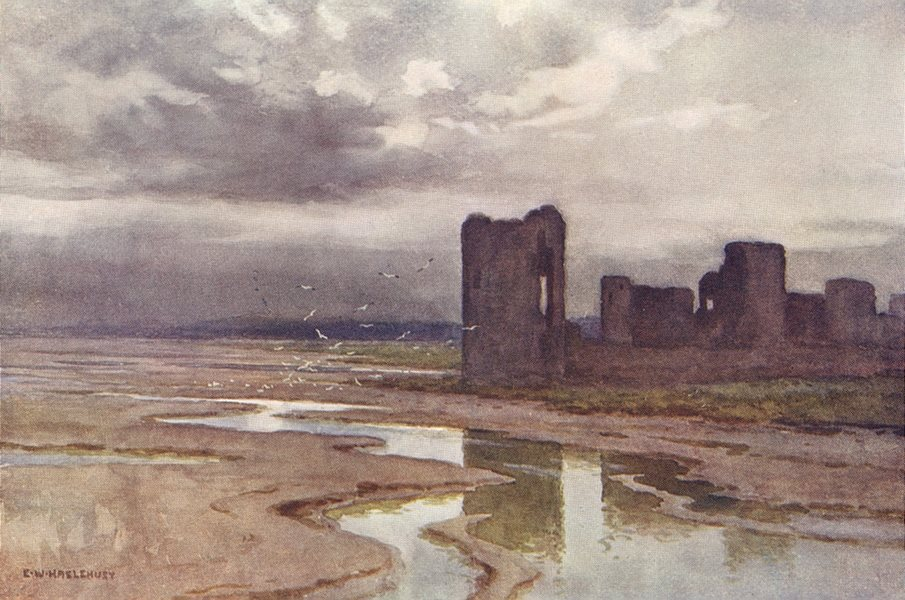 Associate Product Sands of Dee, Flint Castle, Chester. Wales. By Ernest Haslehust 1920 old print