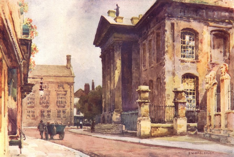 Associate Product Old Clarendon building broad street. Oxford. By Ernest Haslehust 1920 print