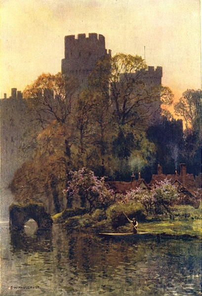 Associate Product Warwick Castle from the river. Warwickshire. By Ernest Haslehust 1920 print