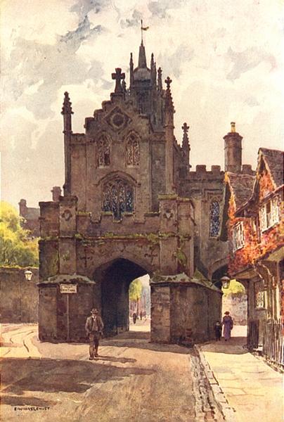 Associate Product East Gate, Warwick. Warwickshire. By Ernest Haslehust 1920 old vintage print