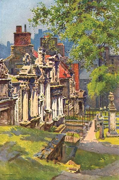 Associate Product Greyfriars Churchyard, Edinburgh. Scotland. By Ernest Haslehust 1920 old print