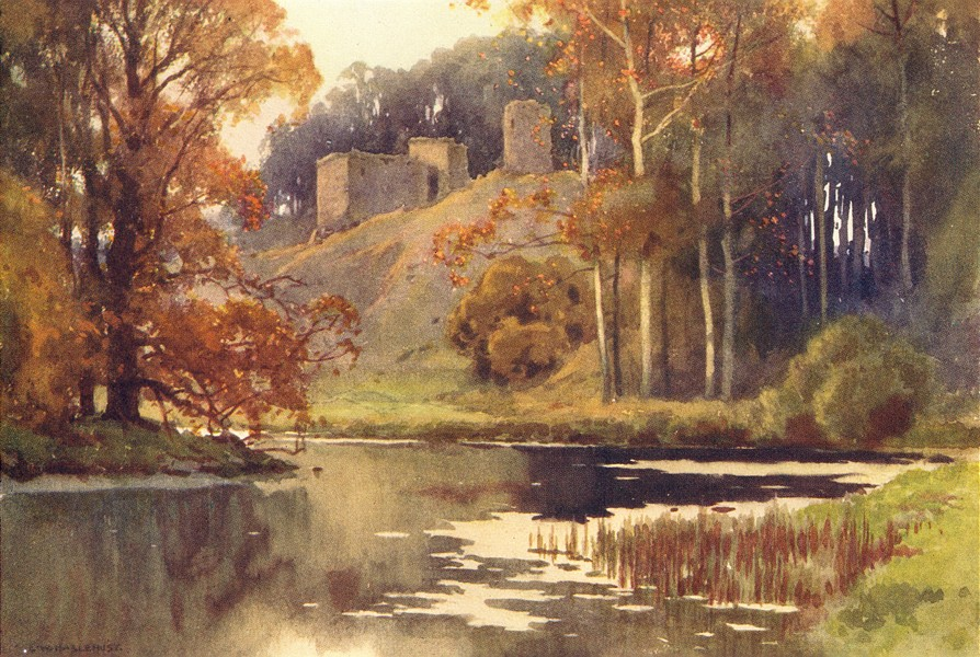 Associate Product Roxburgh Castle, Scott Country. Scotland. By Ernest Haslehust 1920 old print