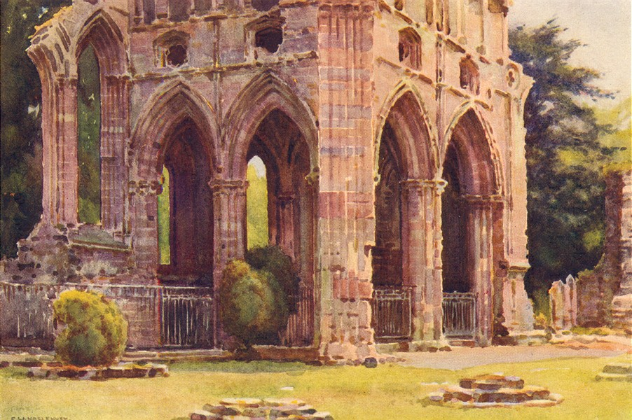 Associate Product Dryburgh Abbey. The Tomb of Sir Walter Scott. Scotland.By Ernest Haslehust 1920