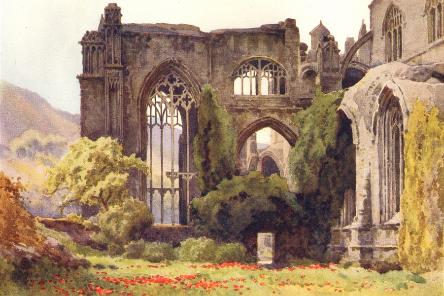 Associate Product Melrose Abbey. Choir and North Transept. Scotland. By Ernest Haslehust 1920