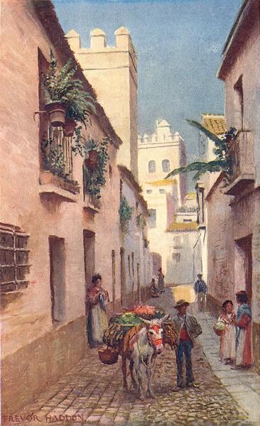 Associate Product SPAIN. Seville-A Street 1908 old antique vintage print picture