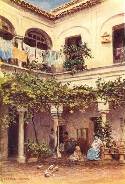Associate Product SPAIN. Seville-A Courtyard 1908 old antique vintage print picture