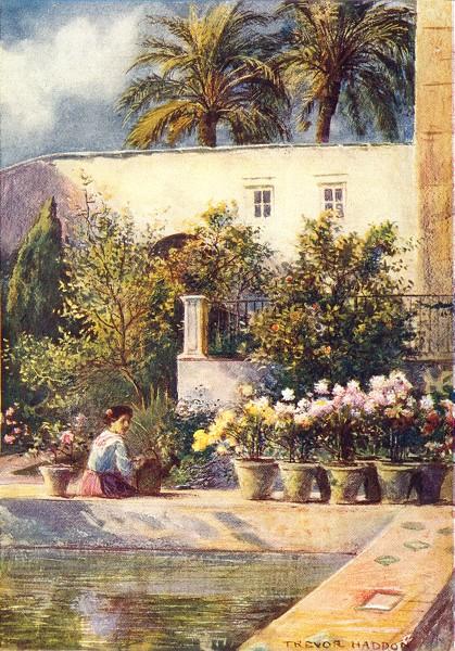 Associate Product SPAIN. Seville-Gardens of the Alcazar 1908 old antique vintage print picture