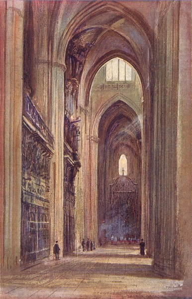 SPAIN. Seville-Interior of the Cathedral 1908 old antique print picture