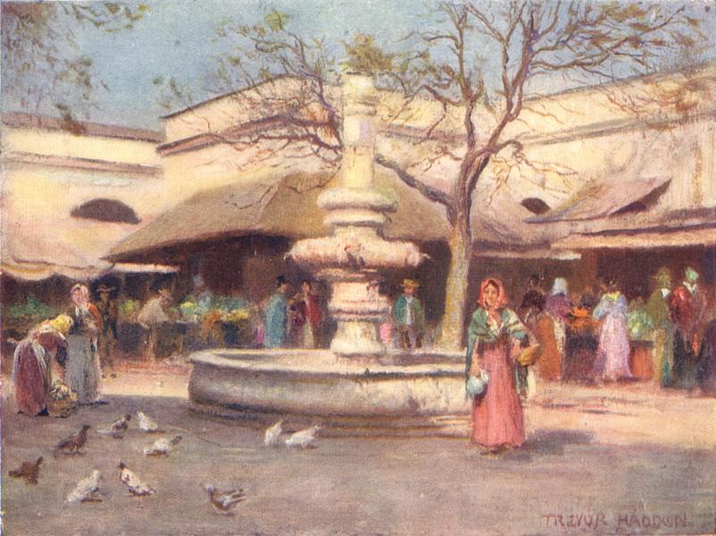 Associate Product SPAIN. Seville-The Market Place 1908 old antique vintage print picture