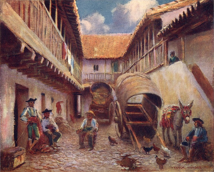Associate Product SPAIN. Cordoba-Courtyard of an Inn 1908 old antique vintage print picture