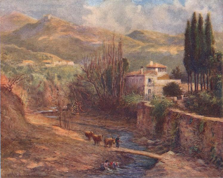 Associate Product SPAIN. Granada-Villa on the Darro 1908 old antique vintage print picture
