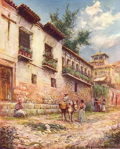 Associate Product SPAIN. Granada-Old Houses, Cuesta del Pescado 1908 antique print picture
