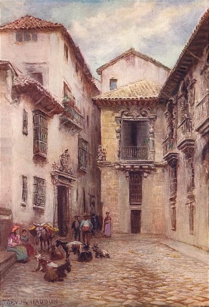 Associate Product SPAIN. Granada-Old Ayuntamiento 1908 antique vintage print picture