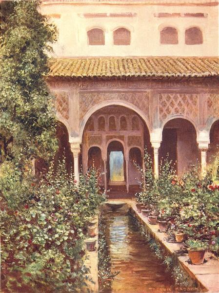 Associate Product SPAIN. Granada-The Generalife. Patio de la Acequia 1908 old antique print