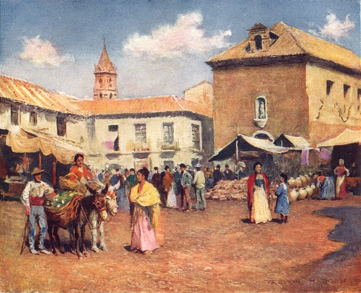 Associate Product SPAIN. Malaga-A Market 1908 old antique vintage print picture