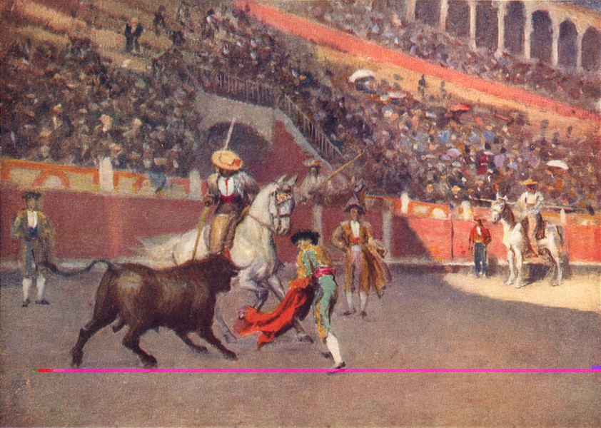 SPAIN. Malaga-A Picador 1908 old antique vintage print picture