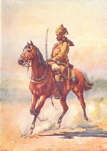 INDIA. Mahratta Wars. 25th Cavalry(Frontier Force)Bangash(Pathan) 1911 print