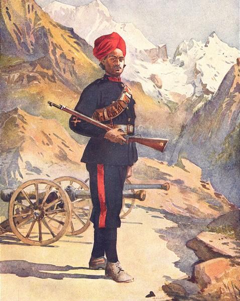 Associate Product INDIA. Mahratta Wars. Mountain guns Gunner Punjabi Musalman 1911 old print