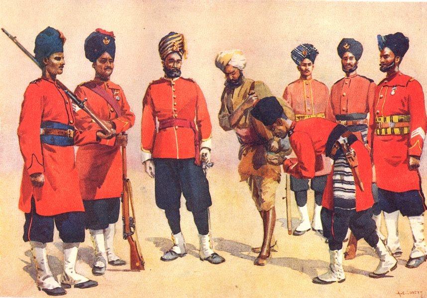 Associate Product RAJPUT Rgt UNIFORMS. Queen's; 7th Duke Connaught's; 8th; 11th; 13th; 16th 1911