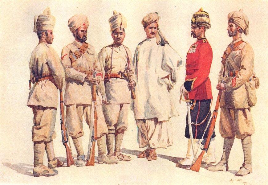 19TH PUNJABI. Lance Naik Jat Sikh Bangash Afridi Pathan Jemadar Yusufzai 1911