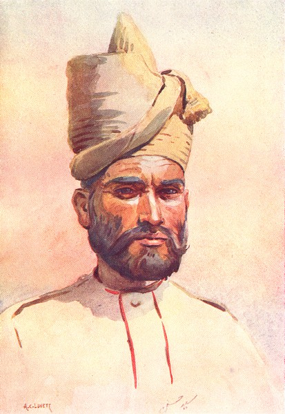 Associate Product INDIA. Army. 26th Punjabis Malikdin Khel(Afridi) 1911 old antique print