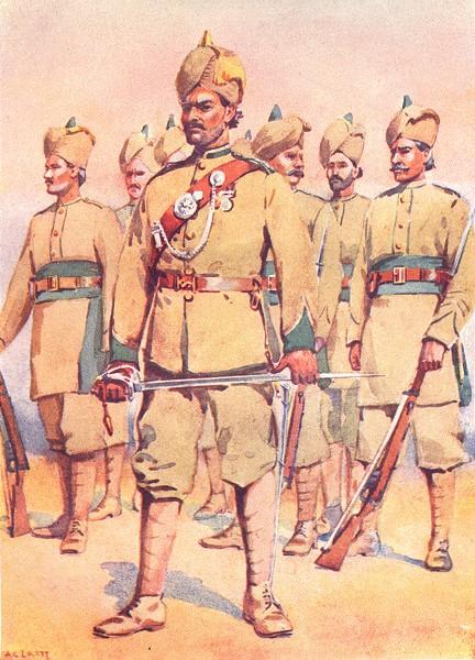 Associate Product INDIA. Army. 33rd Punjabis Subedar Punjabi Musalmans 1911 old antique print