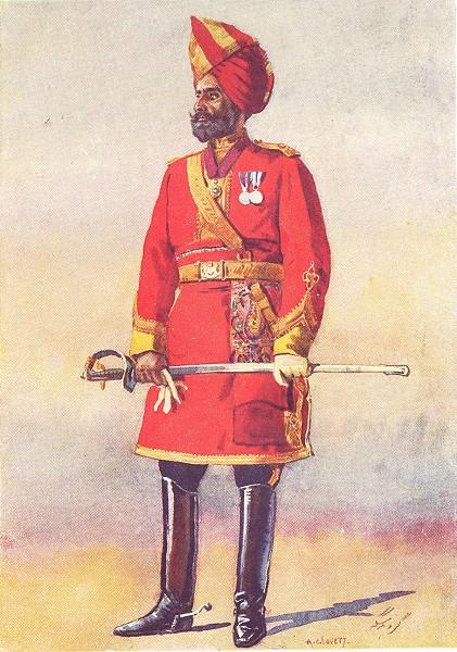 Associate Product INDIA. Armies of Native States. Bharatpur Infantry; Commandant Jat 1911 print