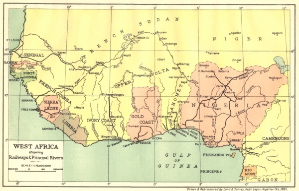NIGERIA West Africa showing Railways Principal Rivers 1936 old