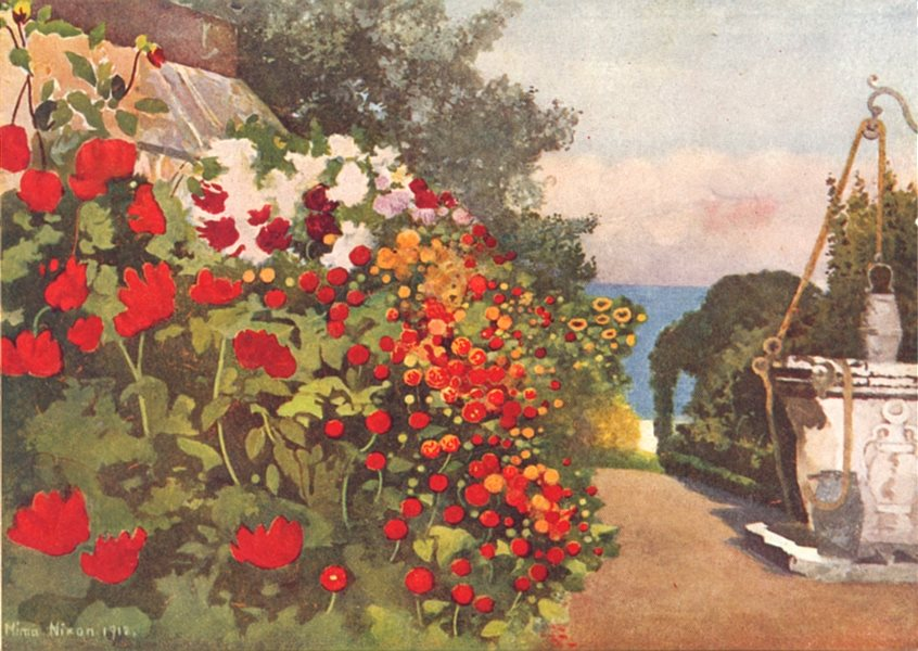 Associate Product DENMARK. The Dahlia Border, Villa Hvidore 1916 old antique print picture