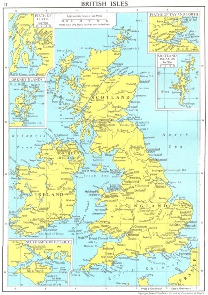 LLOYDS MARITIME. Southampton Orkney Shetland Firth Tay Forth Clyde 1971 map