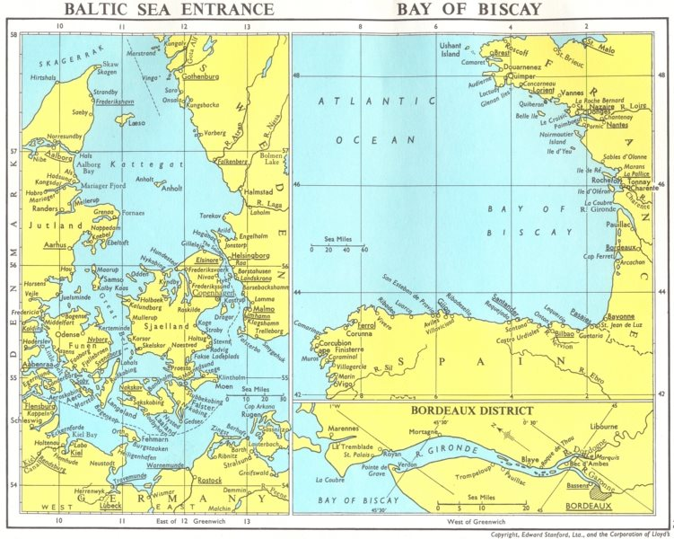 Associate Product LLOYDS MARITIME MAP. Denmark Baltic Sea entry Bay Biscay Gironde Bordeaux 1971