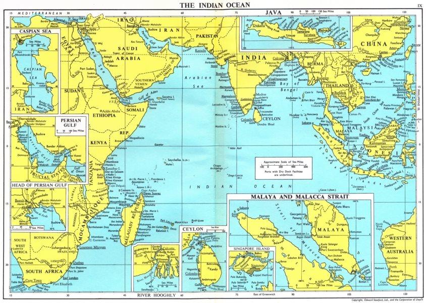 Associate Product INDIAN OCEAN. Persian Sri Lanka Hooghly Singapore Malay Malacca Java 1971 map